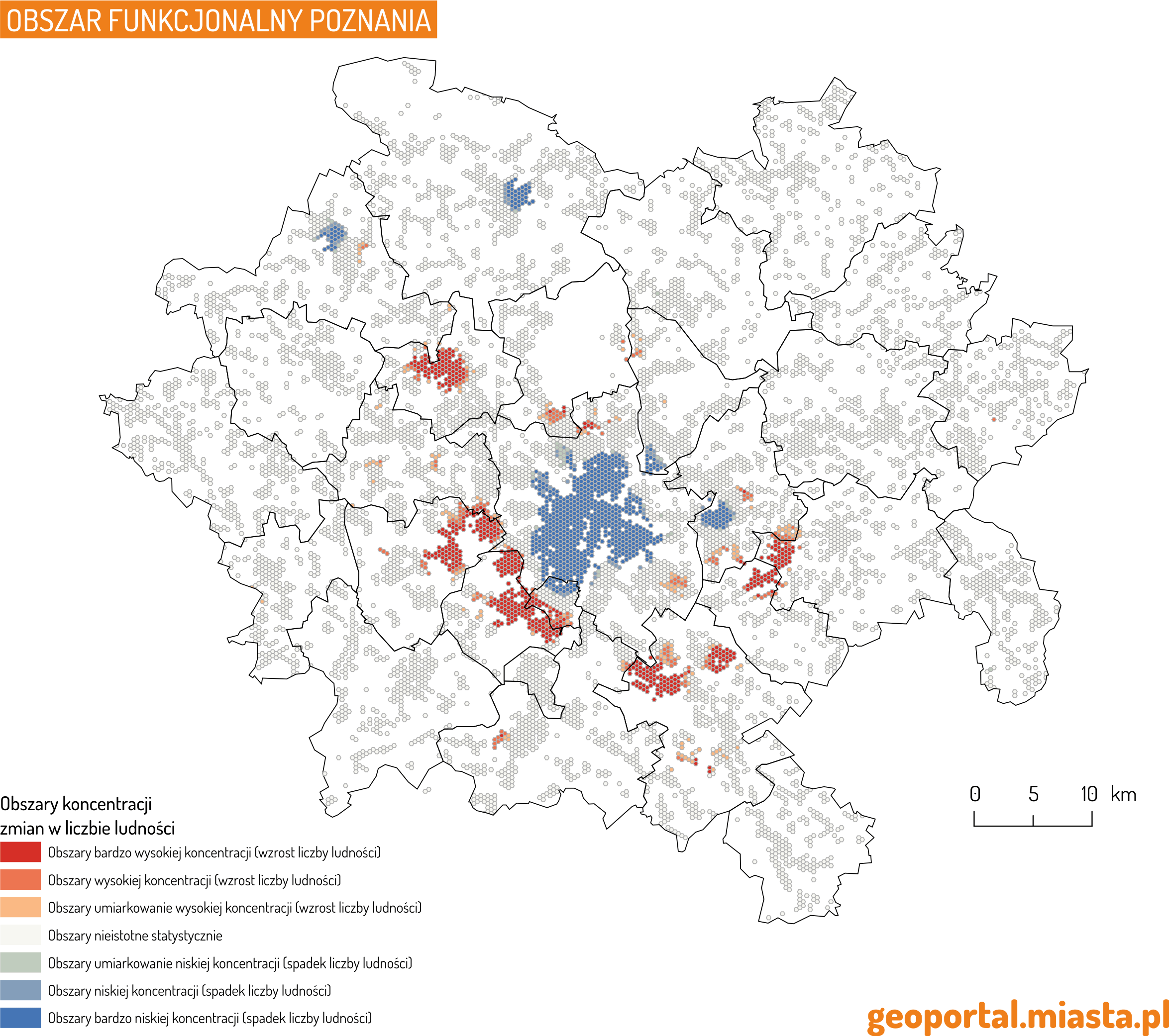 Poznań-zmiana liczby ludnosci - aglomeracja -mof -mapa (2)